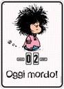 Calendario perpetuo. Mafalda - Oggi mordo pink