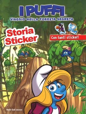 Storia sticker. Viaggio nella foresta segreta. I puffi. Ediz. a colori